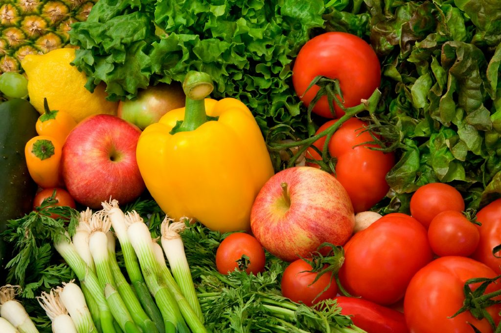 This is a close-up of vegetables and fruits.